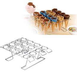 $enCountryForm.capitalKeyWord NZ - Diy 16 Slots Ice Cream Displaying Baking Cake Sugar Cone Cupcake Cooling Rack Holder Stand For Birthday Wedding Party