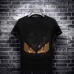 Big Little Shirts Australia - Big code Fashion Brand Men Women short sleeve T shirt rivet little monster funny eyes print high quality cotton men Imbue Diamond tops tees