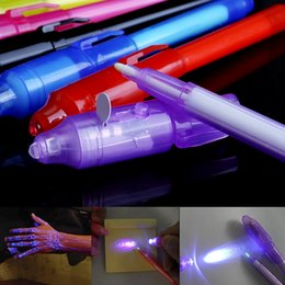 uv pen invisible ink UK - 2 in 1 Luminous Light Invisible Ink Pen UV Check Money Drawing Magic Pens Big Head Luminous Light Magic Pen PNLO