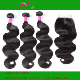 Brazilian wave Bundle extension online shopping - AiS A Brazilian Virgin Human Hair Bundles With Closure x4 Lace Closures Body Wave Unprossed Raw Weave B Straight Remy Hair Extensions