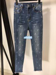 $enCountryForm.capitalKeyWord Australia - High end women girls women girls Pencil Pants Women Denim Moon hot drilling printing Slim fit Trousers Middle waist jeans blue SML