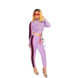 $enCountryForm.capitalKeyWord Australia - Autumn Designer Tracksuit Women New Fashion Strip Printed Casual Hooded Two Piece Set Outfit Tracksuits S-2XL