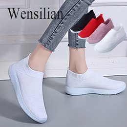 $enCountryForm.capitalKeyWord Australia - Summer Flats Women White Sneakers Slip on Shoes for Women Knitting Flats Breathable Casual Shoes Ladies Zapatos Mujer