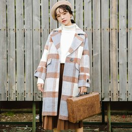 $enCountryForm.capitalKeyWord Australia - Ailegogo New Autumn Women Cashmere Trench Jacket Casual Plaid Turn-down Collar Long Coat Thickness Warm Button Pocket Jackets