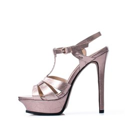 $enCountryForm.capitalKeyWord NZ - Arden Furtado 2019 summer high heels platform peep toe stilettos T-strap genuine leather silver pink sandals party shoes 33 40