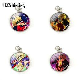 Anime Charms Wholesale Australia - New Fashion Cartoon Ladybug Girl and Cats Anime Glass Cabochon Pendant Jewelry Hand Craft Stainless Steel Charms Gift