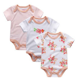 Wholesaler Baby Suits Australia - 2019 Floral Baby Jumpsuits & Baby Bodysuits 3 Pieces lot Underwear Cotton Newborn Short Sleeve Body Suit Baby Girls Clothing Set Y19050602