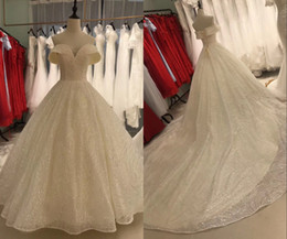 Wholesale white bridal lace fabric resale online - Luxury Sequins Princess Designer Wedding Dresses Glitter Fabric V neck Off the shoulder with Sleeve Wedding Reception Dress Bridal Gowns New