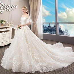 Ball Gown Wedding Dresses Australia - Dubai Arabic Luxury Sparkly 2019 Wedding Dresses Sexy Bling Beaded Lace Applique Off Shoulder Illusion Long Sleeves Vintage Bridal Gown