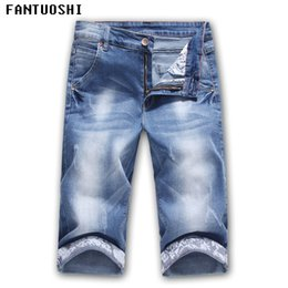 blue cotton men Australia - Hot Sale 2018 Summer New Casual Solid Slim Cotton Shorts Men Jeans Blue Shorts Fashion Male Denim Brand Clothing Plus Size 36 Y190422