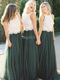Wedding Dresses Two Piece Design Australia - Two Pieces Dress Country Bridesmaid Dresses 2019 New Design Lace Appliques Sweep Train Garden Beach Wedding Guest Party Gowns Cheap Custom