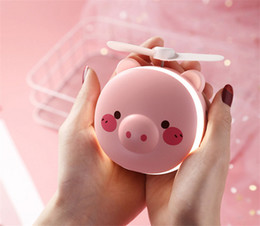 Stock Mirrors Australia - 3 In 1 Cartoon Bear Lovely Pig LED Fill Light Pocket Mini Fan USB Charging Portable Handheld Fans with Mirror Summer Gift for Girls 200pcs