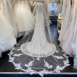 ivory cathedral length veil crystals Canada - Custom Made Wedding Veils 2.5 Meters Long Veils Lace Applique Crystals Two Layers Chapel Length Cheap Bridal Veil Cover Face