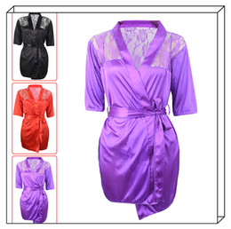 Wholesale floral lingerie robe online – Silk Lace Sleepwear Sexy Lingerie Kimono Intimate Robe Night Gown Red Black Purple Colors Hot