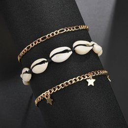 shell anklets A 3-piece set of vintage Bohemian shell pentacle pendant bracelet set luxury designer jewelry women anklet on Sale