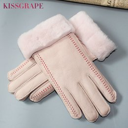 leather gloves for females NZ - Super Warm Women's Genuine Leather Gloves Winter Female Outdoor Ski Motorcycle Gloves Full Finger Sheep Fur Gloves for Women SH190921