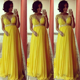 $enCountryForm.capitalKeyWord Australia - Vintage Yellow Chiffon Long Evening Dresses For Pregnant Women A-Line V Neck Sexy See Though Formal Prom Gowns With Applique Beaded Lebanon