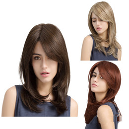 synthetics 16 inch wigs hair Australia - SHUOWEN 3 Colors Straight Long Cheap Synthetic Remy Hair Wigs 16 inches perruques Heat Resistant Glueless Wig JF290