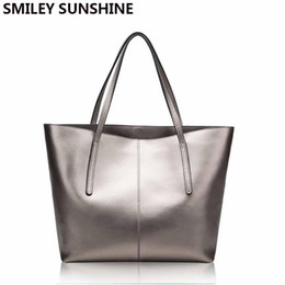 gold silver tote bags Canada - Silver Genuine Leather Women Bag 2018 Big Handbag Fashion Top-handle Hand Bag Ladies Tote Large Luxury Female Shoulder