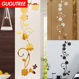 large decals mirrors NZ - Decorate Home 3D flower leaf cartoon mirror art wall sticker decoration Decals mural painting Removable Decor Wallpaper G-383