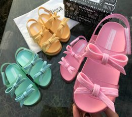 pvc poles Australia - Explosion models new solid color bow children's comfortable sandals girls baby bow double pole thick bottom beach jelly s