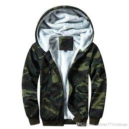 Zipper Sweatshirt Hood NZ - Mens casual Jackets Sweatshirt zipper hood Jacket Camouflag Hoodies Lining Thickened windbreaker spring Outerwear JACKET Coats