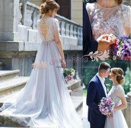 Images Floral Wedding Dresses NZ - 2019 spring Country A-Line wedding dresses with sheer lace 3D-Floral Appliques Bohemian long tulle Wedding Gowns plus size vestido de novia