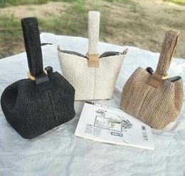 Bow Locks Australia - Brand Straw Bags for Women Beach Bag Personality Crossbody Lock Handbag Lady Vintage Handmade Knit Fashion Shoulder Bag
