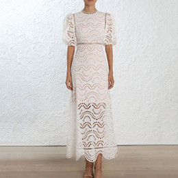 Discount mini dress materials - 2019 New Arrival Women Long Dress Half Sleeve Hollow Out Vintage Dress High Quality Cotton Material O-neck Slim Dresses