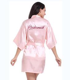 $enCountryForm.capitalKeyWord NZ - Robe Personalised With Hot Pink Glitter Women Bride Robe Silk Kimono Bridesmaid Bath Satin female Robe