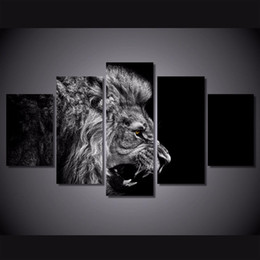 $enCountryForm.capitalKeyWord Australia - Lion White Black,5 Pieces Home Decor HD Printed Modern Art Painting on Canvas (Unframed Framed)