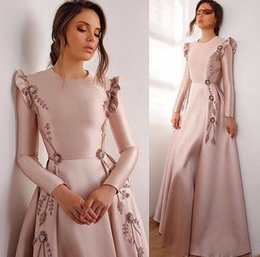 capped sleeve nude bridesmaid dress NZ - Pink 2019 African Sexy Evening Dresses Crew Jewel Long Sleeves Beaded Embroidery Prom Dresses Cheap Formal Party Bridesmaid Pageant Gowns
