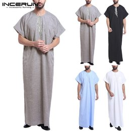 kaftan short dress 2019 - Saudi Arab Muslim Summer Robe Mens Short Sleeve Thobe Jubba Thobe Kaftan Long Lounge Gown Vintage Arab Islamic Kaftan Dr