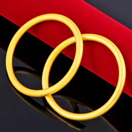 solid 18k bangles NZ - 2 Pieces Wholesale Womens Bangle Solid Jewelry 18k Yellow Gold Filled Fashion Womens Bracelet Unopenable Wedding Party Gift Drop Shipping