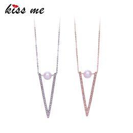 $enCountryForm.capitalKeyWord Australia - Chic Triangle Rhinestone Imitation Pearl Necklaces Pendants Ol Style Rose Gold Silver Color Alloy Chain Necklace