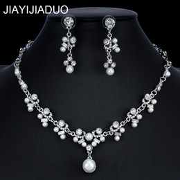 Pearl Jewelry Sets For Girls Australia - jiayijiaduo African Jewelry Set for Women Wedding Jewelry Imitation Pearl Crystal Necklace Earrings Set Girl Gift dropshipping