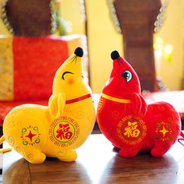 chinese plush Australia - Plush Rats Mouse Stuffed Animals Toys Ornaments Zodiac Animal Mascot 2020 Chinese New Year Gifts Decorations Red Yellow 8Inches 20CM