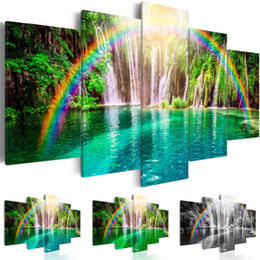 life size pictures Australia - Canvas Print Modern Fashion Decoration Landscape Waterfall Rainbow, ,Choose Color And Size(Unframed, Only Print)
