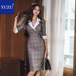 formal office pencil dress NZ - Vintage Plaid Formal Dress Women Elegant Khaki Half Sleeve Bow Patchwork Office Lady Spring Knee-length Turn-down Collar Dresses