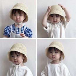 Block Protection Australia - Hot style summer straw hat south Korean baby sunshade sun block hat beach lace fisherman hat