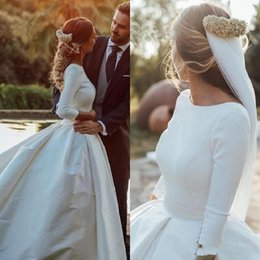 winter wedding dresses low back UK - Winter 2019 Simple Vintage Wedding Dresses Long Sleeve Low Cut Back Ivory Satin Chapel Train Retro Bridal Gowns Custom Made Size