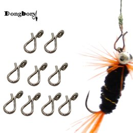 wholesale black s hooks Canada - Sports & Entertainment Dongbory 20PCS Black Quick Change for Flies Hooks and Lures Accessories Fly Fishing Snap Hooks Size L M S