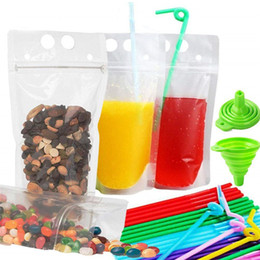 $enCountryForm.capitalKeyWord Australia - Zipper Drink Bag Stand-Up Transparent Plastic Pouches Bags with Drink Straws Funnel Heavy Duty Hand-Held Reclosable Heat-Proof Bag