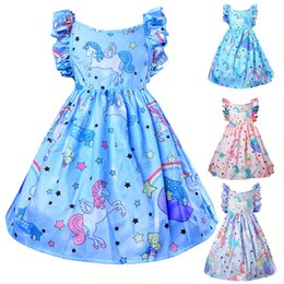 Years girls dressing stYle online shopping - baby girls summer dress unicorn horse printed kids girl casual clothes years girl cotton skirts