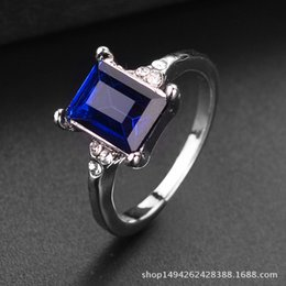 Square Geometric Ring Australia - European and American jewelry manufacturers sell wish Amazon eBay instant geometric diamond square crystal ring wholesale