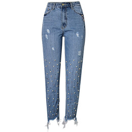 $enCountryForm.capitalKeyWord Australia - High Waist Slim Straight Pearl 3 Color Studs Irregular Foot Fringe Hole Denim Trousers Y190429