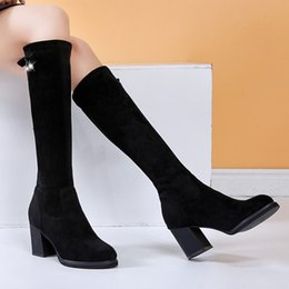 DiamonD knee high boots online shopping - Boots Women Solid Round Toe Slip On Crystal Diamond Boots Knee High Shoes Woman Flock Round Toe Chunky Heels bota feminina