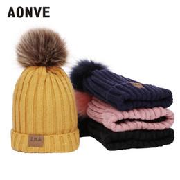 Yellow Beanies Australia - Aonve Pompom Winter Beanies For Kids Baby Kawaii Plain Skullcap Yellow Pink Gorro Hiver Wearing Bonnet