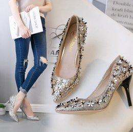 $enCountryForm.capitalKeyWord NZ - Hot Sale-high heels 2019 autumn new sequins flower decoration stiletto female high-heeled shoes temperament wedding shoes dress shoes