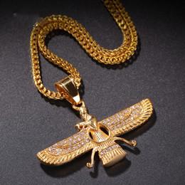 $enCountryForm.capitalKeyWord Australia - Hawk Figure Pendant Hip-hop Tide Stainless Steel Men's Egyptian Mythological Jewelry